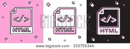 Set Html File Document. Download Html Button Icon Isolated On Pink And White, Black Background. Html