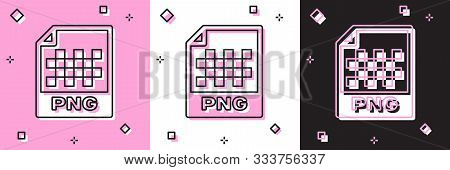 Set Png File Document. Download Png Button Icon Isolated On Pink And White, Black Background. Png Fi