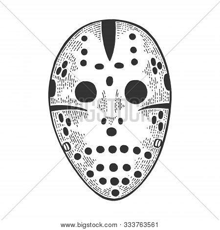 Goaltender Hockey Goalie Nightmare Mask Sketch Engraving Vector Illustration. T-shirt Apparel Print