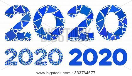 2020 Digits Text Mosaic Of Tuberous Items In Variable Sizes And Color Tints, Based On 2020 Digits Te