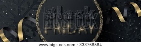 Black Friday Sale Banner Or Flyer Design With Sparkling Black And Gold Inscription On A Textured Bac