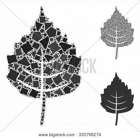 Birch Leaf Mosaic Of Raggy Parts In Different Sizes And Color Tints, Based On Birch Leaf Icon. Vecto