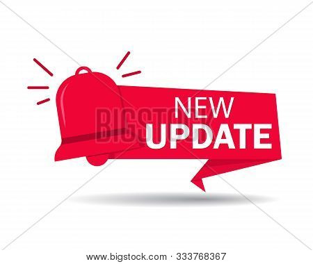 New Update Label. Red Banner Of Update Information For Bussines, Website, Poster Of Social Media. Ri