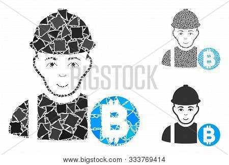 Bitcoin Miner Composition Of Tuberous Elements In Various Sizes And Color Tints, Based On Bitcoin Mi