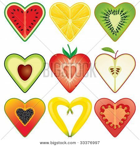 Heart Shaped Healthy Fruit Halves Collection