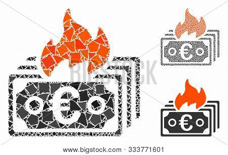 Burn Euro Banknotes Composition Of Trembly Elements In Various Sizes And Shades, Based On Burn Euro