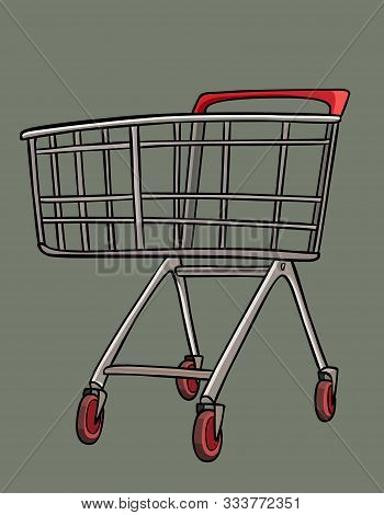 Cartoon Empty Metal Shopping Cart Trolley With Castors For Shopping. Vector Image