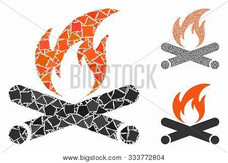 Campfire Mosaic Of Raggy Pieces In Various Sizes And Color Tinges, Based On Campfire Icon. Vector Un
