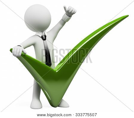 3d White Business People Illustration. Businessman With A Huge Tick And Thumb Up. Isolated White Bac