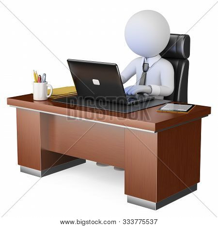 3d White Business People Illustration. Businessman Working At Office With His Computer. Isolated Whi