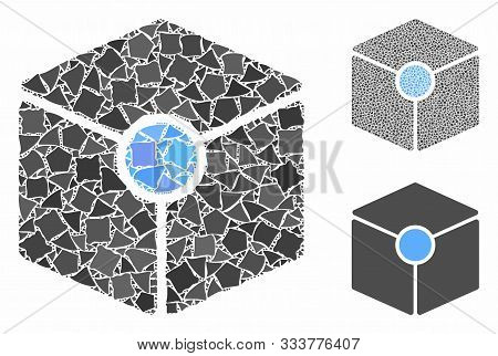 Cube Vertex Composition Of Joggly Pieces In Various Sizes And Color Tints, Based On Cube Vertex Icon