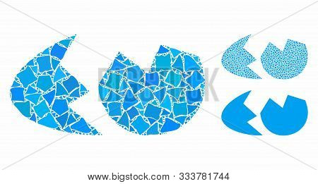 Eggshell Mosaic Of Rugged Items In Various Sizes And Color Tints, Based On Eggshell Icon. Vector Rag