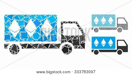 Ethereum Delivery Car Mosaic Of Tuberous Pieces In Different Sizes And Color Hues, Based On Ethereum