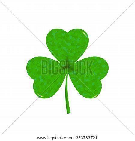 Green Shamrock Leave Icon - Saint Patricks Day Symbol, Glittering  Shamrock Leafsolated On White Bac