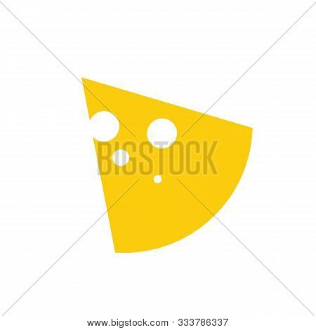 Slice Cheese With Hole Glyph Icon, . Dairy Product Black Flat Label. Natural Healthy Food Logo. Cook