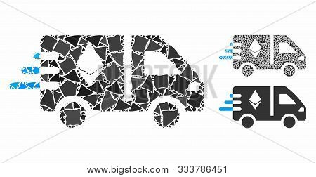 Express Ethereum Delivery Car Mosaic Of Bumpy Elements In Different Sizes And Color Hues, Based On E