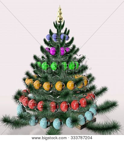 3d Illustration Of Decorated Christmas Tree Wity Toys Garland And Tinsel Design Close Up