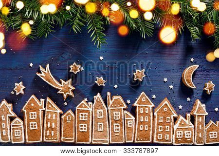 Christmas Background, Christmas Gingerbread  Town, Image Created From Gingerbread Cookies Houses, Fr