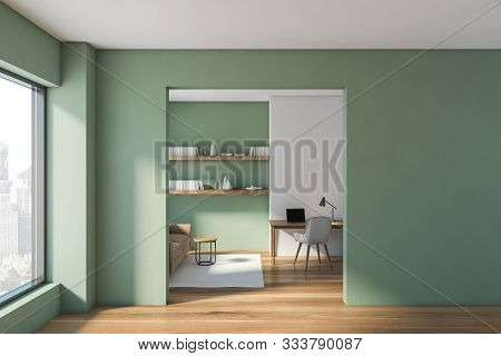 Green Living Room And Home Office