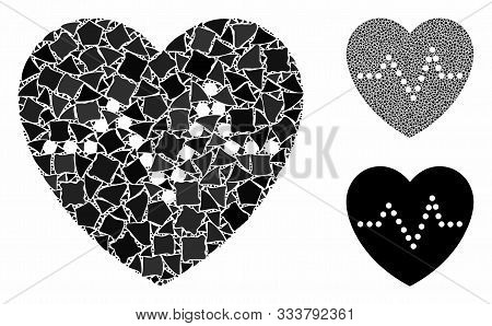 Heart Pulse Mosaic Of Tuberous Parts In Different Sizes And Color Hues, Based On Heart Pulse Icon. V