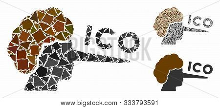 Ico Lier Composition Of Rough Pieces In Different Sizes And Shades, Based On Ico Lier Icon. Vector J