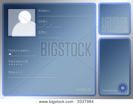 Large Blue Login Screen Layout With Portrait Box