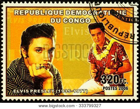 Moscow, Russia - November 15, 2019: Stamp Printed In Congo Shows Portrait Of Elvis Presley (1935-197