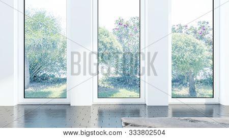 Empty Minimalistic Living Room Interior . 3d Rendering