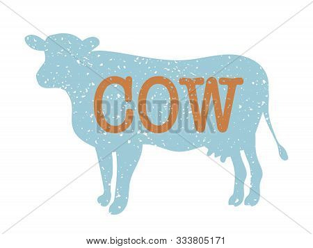 Cow Vintage Silhouette, Blue And Orange Colors
