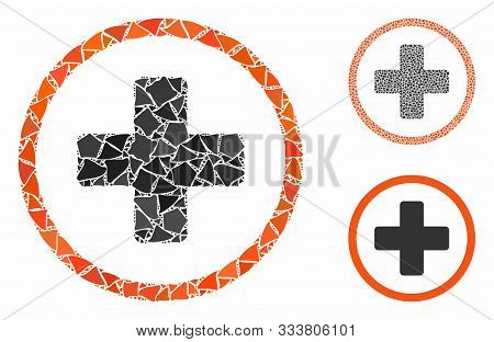 Rounded Plus Mosaic Of Rough Items In Various Sizes And Shades, Based On Rounded Plus Icon. Vector H