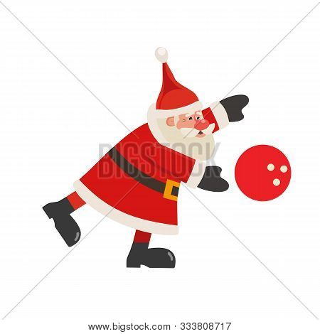 Santa Claus Play Bowling Vector Icon Isolated On White. Cartoon Cute Father Christmas Full Length Po