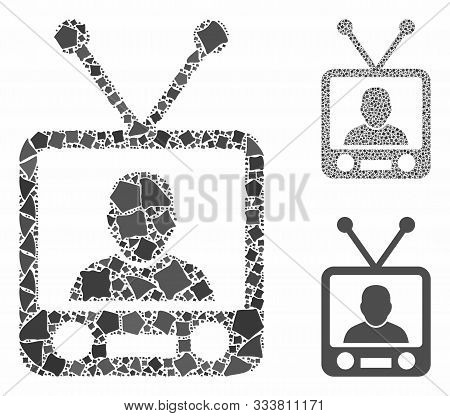 Tv News Mosaic Of Bumpy Elements In Variable Sizes And Shades, Based On Tv News Icon. Vector Bumpy P