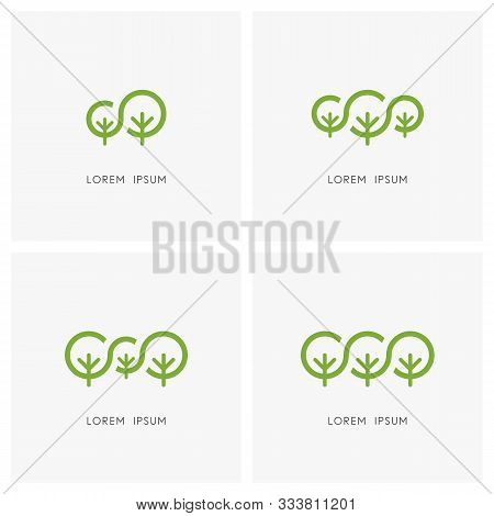 Green Family Logo Set. Big Tree And Small Plant Or Sapling Symbol - Ecology And Environment, Nature