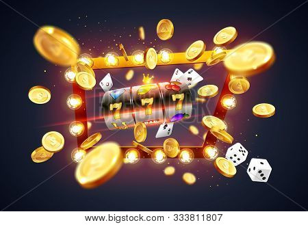 Golden Slot Machine Wins The Jackpot 777 On Background Of An Explosion Of Coins And Retro Frame. Vec