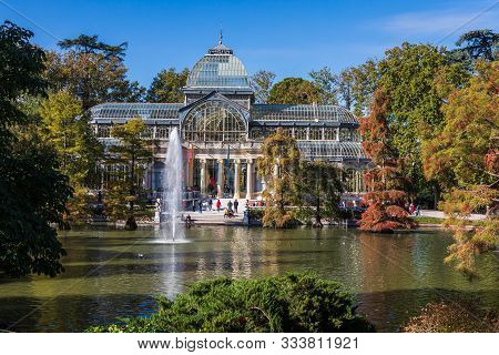 Madrid, Spain - October 21, 2019: Crystal Palace (palacio De Cristal) In El Retiro Park In Madrid, S