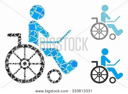 Wheelchair Mosaic Of Irregular Items In Various Sizes And Color Hues, Based On Wheelchair Icon. Vect
