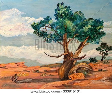 Naive Style Oil Painting Of The A Poplar Trees And Desert Plants In The Arid Landscape Of Arizona Or