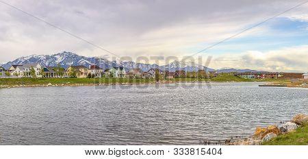 Daybreak Over Oqirrh Lake In Utah On A Cloudy Day