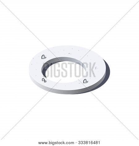 Concrete Ring Icon In Flat Style, Vector