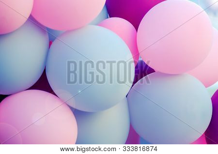 Many Balloons For The Holiday Of Pleasant Colors. Pink, Light, Purple. Atmosphere Of Celebration, Re