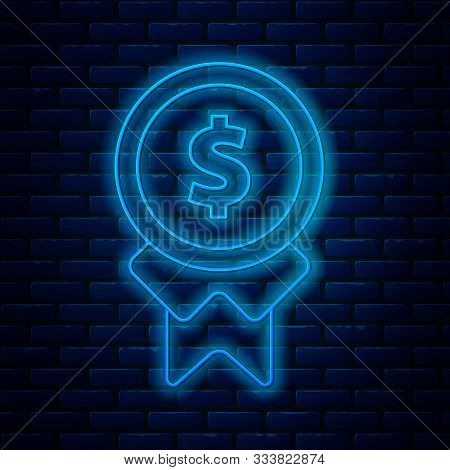 Glowing Neon Line Reward For Good Work Icon Isolated On Brick Wall Background. Employee Of The Month