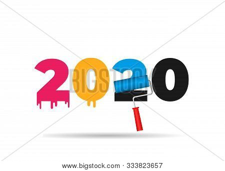 Happy New Year 2020. 2020 With Roller Paint Brush For Wall. Colorful Painting Number 2020