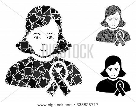 Girl With Sympathy Ribbon Composition Of Uneven Pieces In Various Sizes And Shades, Based On Girl Wi