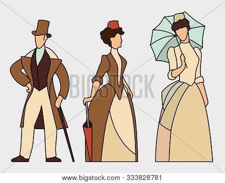 The Figures Of The Ladies And Dzhenmen In Clothes Of The 19th Century. Vector Graphics