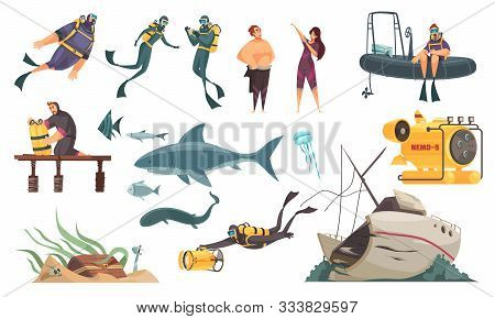 Scuba Diving Flat Comics Elements Set  Swimming With Fish Ocean Bottom Sunken Ship Wetsuit Bathyscap
