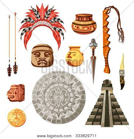 Colored Cartoon Maya Civilization Culture Icon Set With Different Attributes And Elements Vector Ill