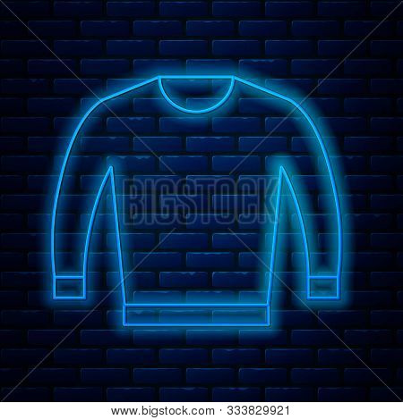 Glowing Neon Line Sweater Icon Isolated On Brick Wall Background. Pullover Icon. Vector Illustration