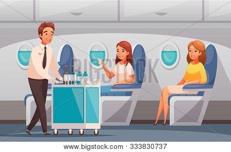 Steward Offering Drinks To Passengers In Plane Cartoon Vector Illustration
