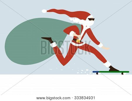 Hand Drawn Vector Illustration Of Young Santa Claus Skateboarding