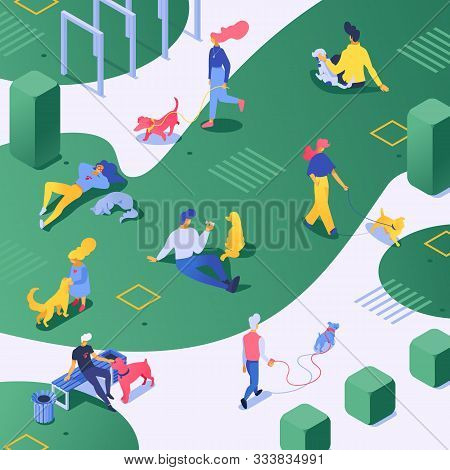 People And Dog Vector Dog-breeder Character Walking With Doggy In Green Park. Illustration Of Stylis